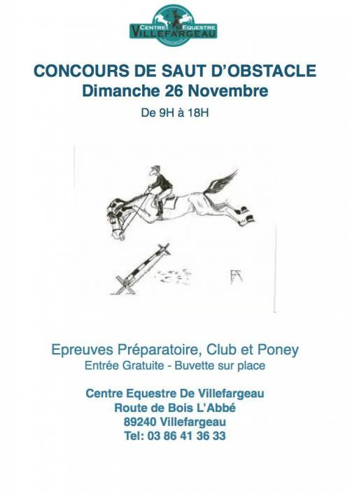 Concours Saut d'Obstacles Indoor 26 Novembre
